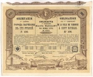 Obligacja 7-tej Pożyczki M.St. Warszawy 1903 - 100 rubli