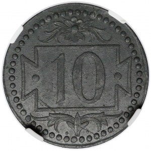 Gdańsk, 10 fenigów 1920 - 54 perełki - piękne