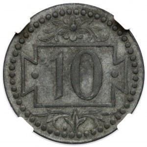 Gdańsk, 10 fenigów 1920 - 54 perełki - bez kropki