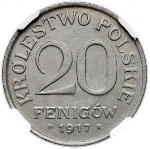 Królestwo Polskie, 20 fenigów 1917 - NGC MS61