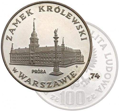 Próba SREBRO 100 złotych 1974 Zamek Królewski - rzadkość