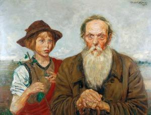 Wlastimil HOFMAN (1881-1970), Pastuszek i starzec, 1914