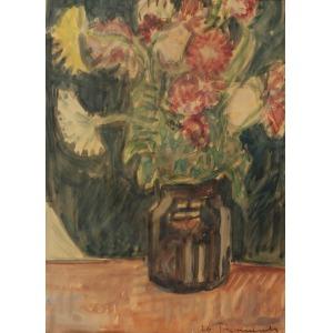 Zbigniew TYMOSZEWSKI (1924-1963), Kwiaty w wazonie, lata 40. XX w.