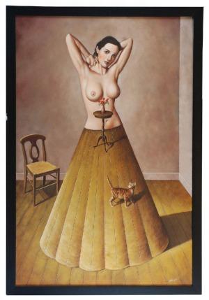 Rafał OLBIŃSKI (ur. 1947), Kobieta z kotem i krzesłem