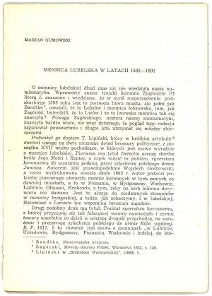 Gumowski Mennica lubelska w latach 1595-1601