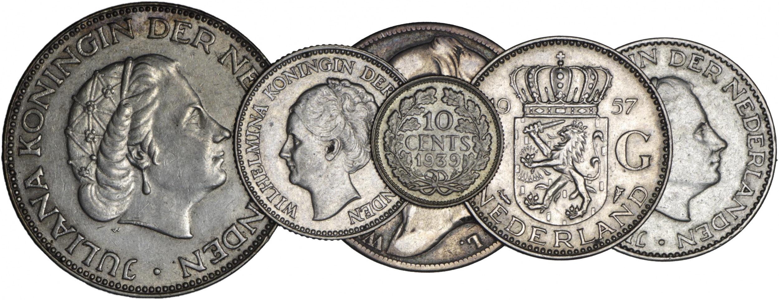 zestaw 6 monet: 1 gulden 1847 Ag 945, Wilhelm II (1840-1849); ½ guldena 1930 i 10 centów 1939, Ag 720 i 640, Wilhelmina (1890-1948); 2 ½ guldena 1959, 1 gulden 1955 i 1957, Ag 720, Juliana (1948-1980)