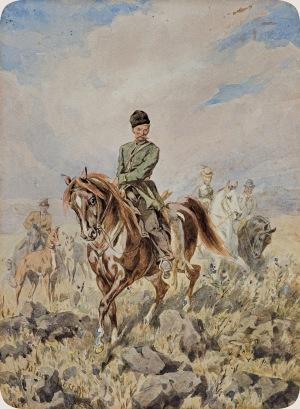 Kossak Juliusz, POLOWANIE NA ZAJĄCE, 1879