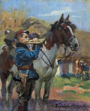 Kossak Wojciech, POBUDKA! TRĘBACZ UŁANÓW Z KONIEM, 1922