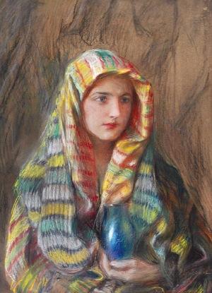 Teodor AXENTOWICZ (1859-1938), Dziewczyna w wielobarwnej chuście z wazonem, ok. 1925