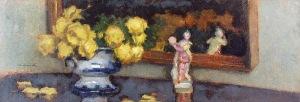 Alfons KARPIŃSKI (1875-1961), Żółte róże i porcelanowa figurka