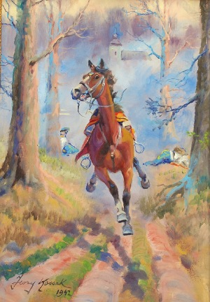 Jerzy KOSSAK (1886-1955), Spłoszony koń, 1942