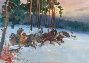 Wojciech KOSSAK (1856-1942), Napad wilków, 1933