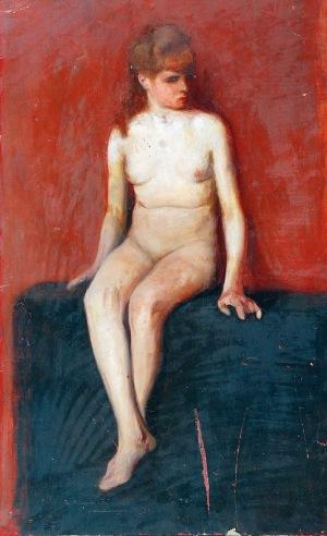 Alfons KARPIŃSKI (1875-1961), Akt siedzącej dziewczyny, 1904