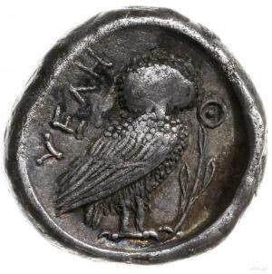 drachma ok. 465-440; Aw: Głowa nimfy w prawo; Rw: Sowa ...