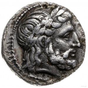 tetradrachma 318-317 pne; Aw: Głowa Zeusa w wieńcu laur...