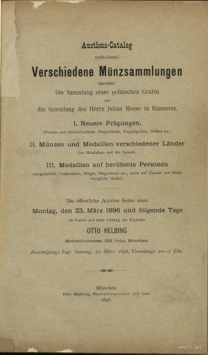 Otto Helbing - Auktions-Catalog: Verschidene Münzsammlu...