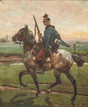 Wojciech Kossak (1856-1942), Żołnierz na koniu, [1899]