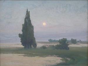 Iwan Trusz (1869-1941), Pejzaż z cyprysami