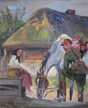 Wojciech Kossak (1856-1942), Ułan z dziewczyną przy studni, [1941]