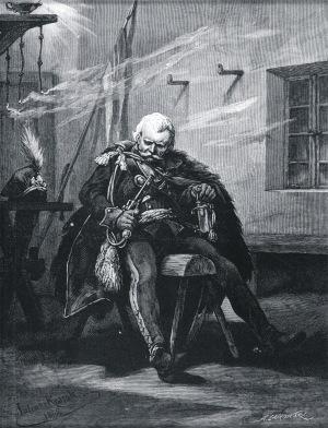 Juliusz Kossak (1824-1899), Mohort drzemie na drewnianym koniu, [1855]