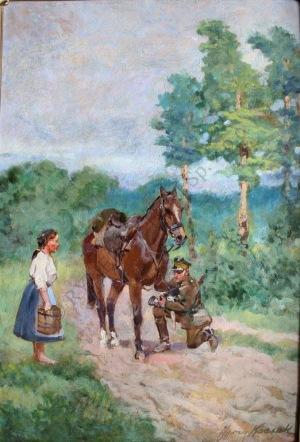Jerzy Kossak (1886-1955), Ułan i dziewczyna