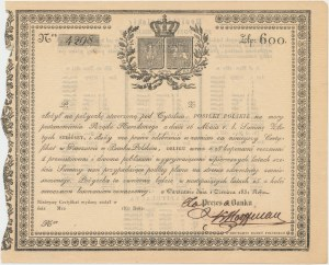Certyfikat Pożyczki POSIŁKI POLSKIE 600 złotych 1831