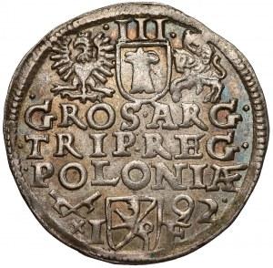 Zygmunt III Waza, Trojak Poznań 1592 - 92 z prawej, szeroka twarz