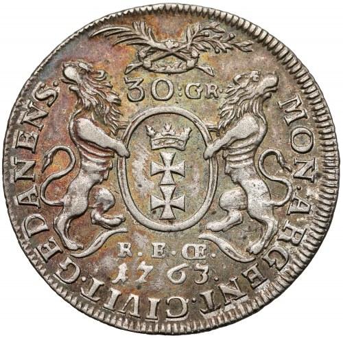 August III Sas, Złotówka Gdańsk 1763 REOE - długie gałązki