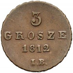 Księstwo Warszawskie, 3 grosze 1812 IB - data wąsko - ŁADNE