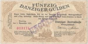 Gdańsk 50 guldenów 1923 - stempel UNGÜLTIG