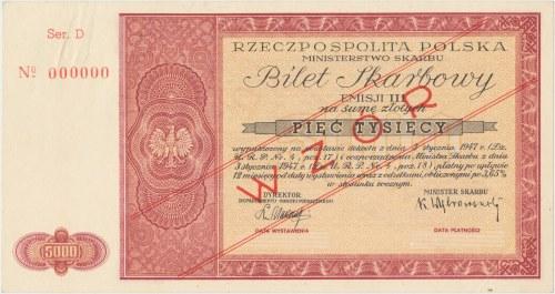 WZÓR Bilet Skarbowy Emisja III - 5.000 złotych 1947