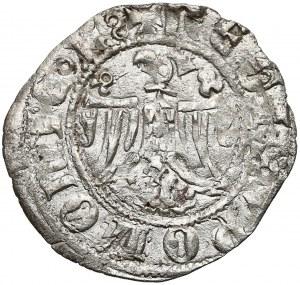 Kazimierz III Wielki, Półgrosz Kraków - król rozdziela napis otokowy