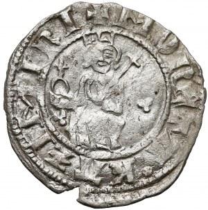 Kazimierz III Wielki, Półgrosz Kraków - król nie dzieli napisu - dobrze wybity egzemplarz