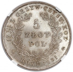 Powstanie Listopadowe, 5 złotych 1831 KG - PIĘKNE - NGC MS66