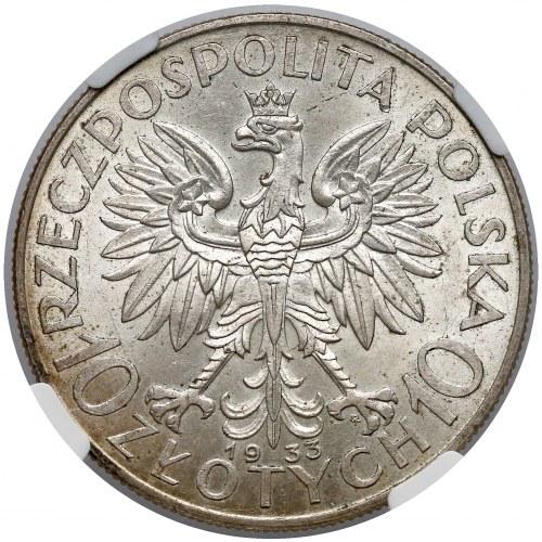 Głowa Kobiety 10 złotych 1933 - NGC MS62
