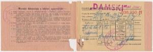 Łódź, Bilet kolejowy - sypialny - damski, Polskie Biuro Podróży ORBIS 1948 r.