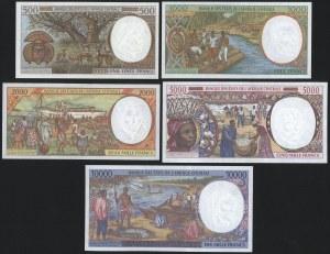 Państwa Afryki Środkowej, 500 - 10.000 Francs (1994-2000) - zestaw (5szt)