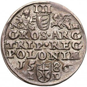 Stefan Batory, Trojak Olkusz 1586 - litery N-H