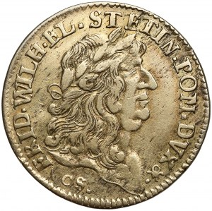 Pomorze Zachodnie, Ćwierćtalar / odbitka w srebrze dwudukata 1677 CS - rzadkie