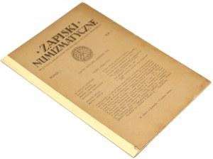 Zapiski numizmatyczne, Lwów styczeń-marzec 1925