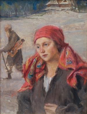 Axentowicz Teodor, DZIEWCZYNA I LIRNIK, ok. 1900