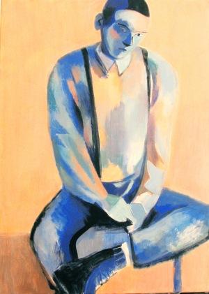 Juliusz Lewandowski (Juliusz Martwy, Pseud.) (ur. 1977, Warszawa), Portret siedzącego chłopca, 2017 r.