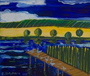 Edward Dwurnik (ur. 1943, Radzymin), Różowy pomost, 2016 r.