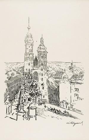 Leon WYCZÓŁKOWSKI (1852-1936), Widok na kościół Mariacki