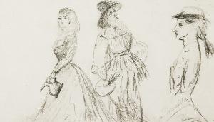 Olga BOZNAŃSKA (1865-1940), Szkice postaci - Malarz i modelka oraz profil dziewczyny