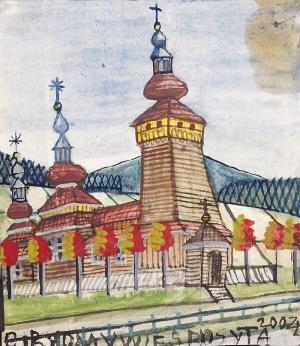 Nikifor KRYNICKI (1895-1968), Kościółek z trzema wieżami