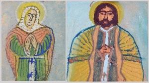 Nikifor KRYNICKI (1895-1968), Para portretów Świętych -Jezus? i Maria?
