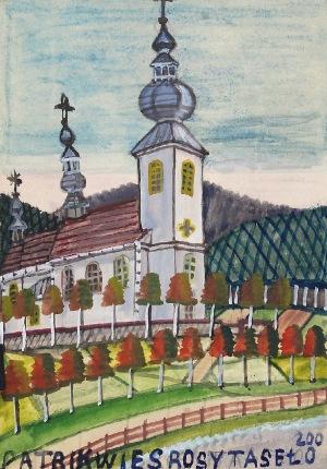 Nikifor KRYNICKI (1895-1968), Kościół z białą fasadą