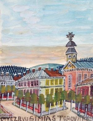 Nikifor KRYNICKI (1895-1968), Widok na miasto