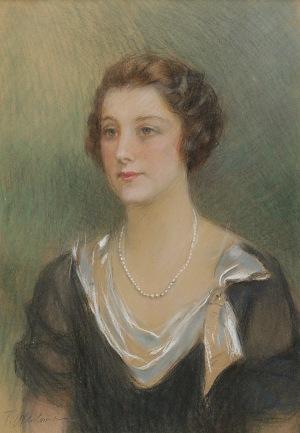 Teodor  AXENTOWICZ (1859-1938), Portret młodej kobiety z perłowym naszyjnikiem
